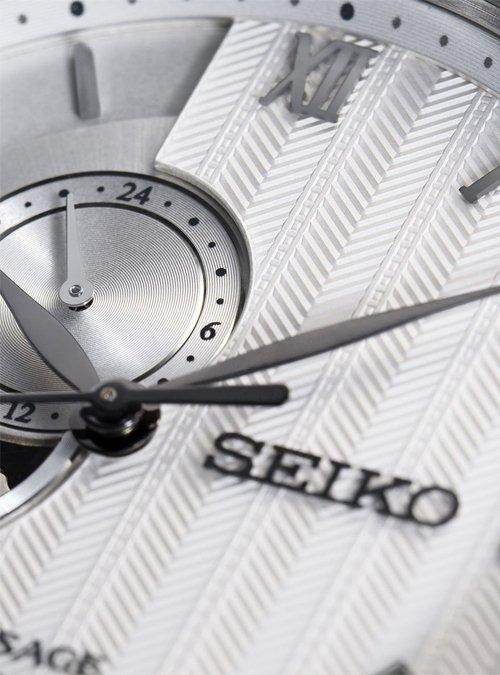 Zegarek Seiko Presage z białą tarczą inspirowaną japońskim ogrodem.