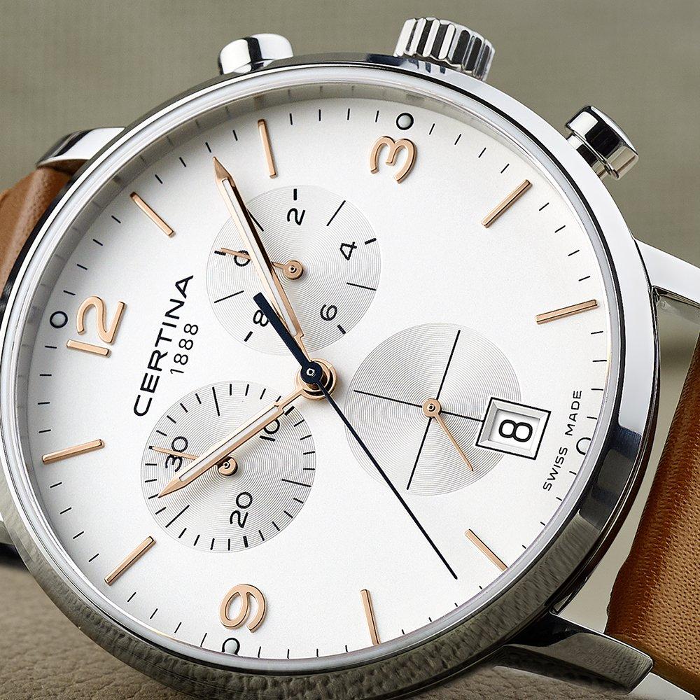 potwierdza elitarny certyfikat Swiss Made  DS System zabezpieczeń marki Certina Double Security  Dokładność do jednej dziesiątej sekundy w zegarkach DS Caimano Chronograph