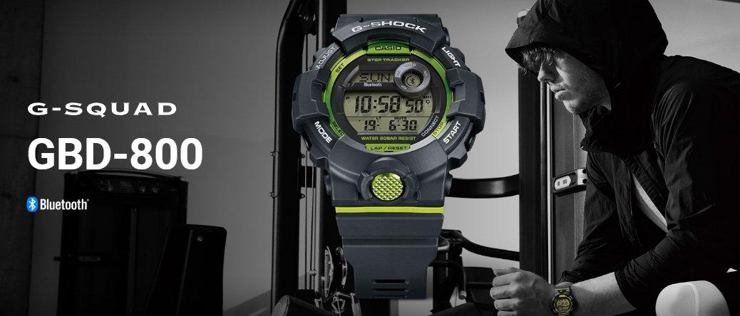 Wielofunkcyjny, męski zegarek G-Shock G-Squad z tworzywa sztucznego z mechanizmem kwarcowym. Zegarek jest w szarym kolorze z akcentami jasnego zielonego, który dodaje zegarkowi świeżości i sportowego charakteru.