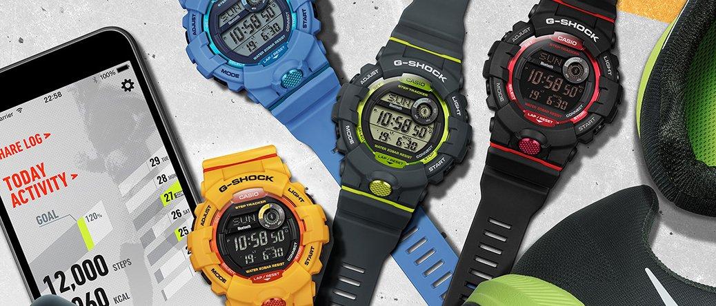 Sportowe, męskie zegarki G-Shock G-Squad. Każdy z zegarków posiada cyfrową tarczę ułatwiającą kontrolowanie wiele przydatnych funkcji, które są idealne dla osób aktywnych fizycznie.