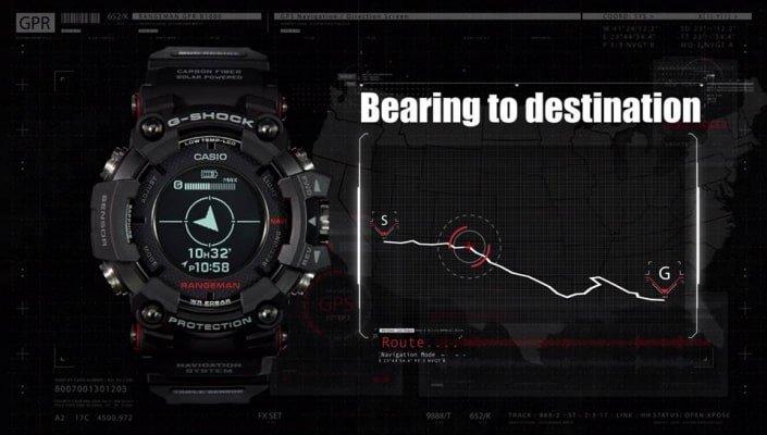 Zegarek G-Shock GPR-B1000-1BER Rangeman Professional posiada wyjątkowo rozbudowany GPS.