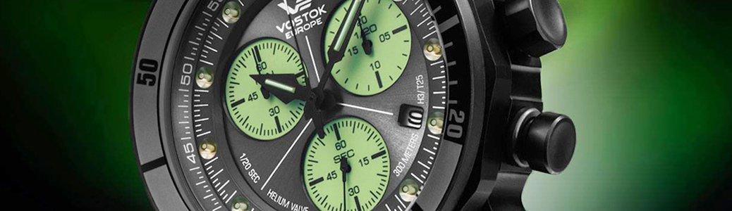 Zegarek Vostok Europe z tarcza zbudowaną z dwóch dysków, na dolny Super - LumiNova,  górny czarny i matowy.