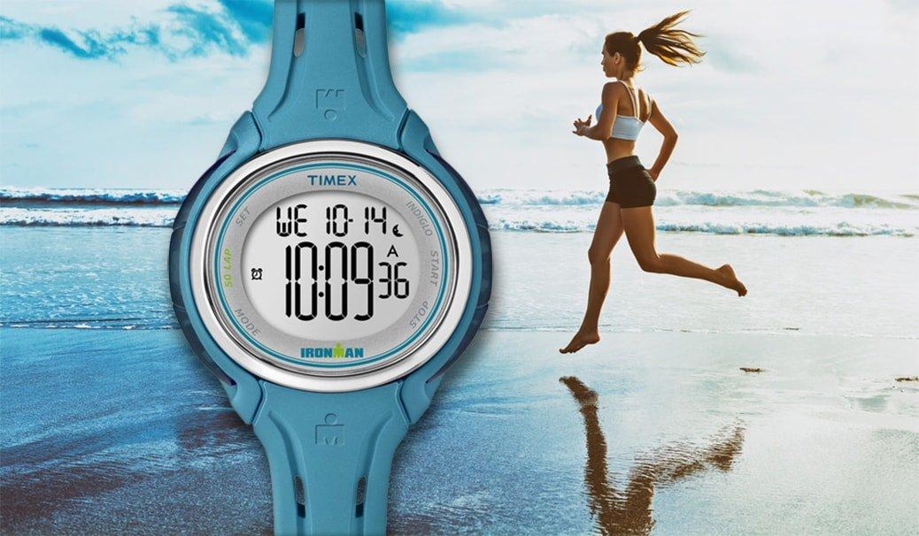 Sportowy, damski zegarek do biegania z podświetleniem Indiglo oraz stoperem.