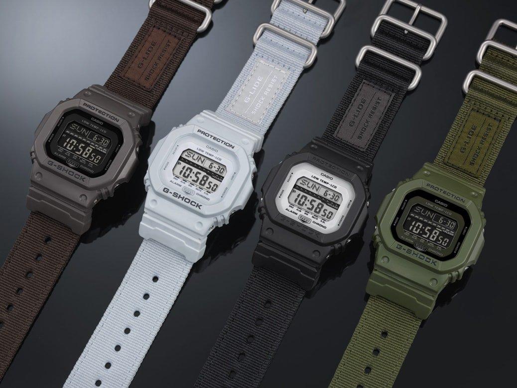Wytrzymałe, męskie zegarki G-Shock G-Lide posiadają wiele pożytecznych funkcji takich jak rozbudowany kalendarz, 5 alarmów, stoper czy czas światowy. Warto również wspomnieć, że zegarki maja odporność na niskie temperatury sięgające aż do -20 stopni Celsjusza.