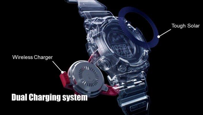 Zegarek G-Shock GPR-B1000-1BR Professional Rangeman jest wyposażony w podwójny system ładowania. Baterię można zasilić ładowarką indukcyjną lub energią słoneczną.