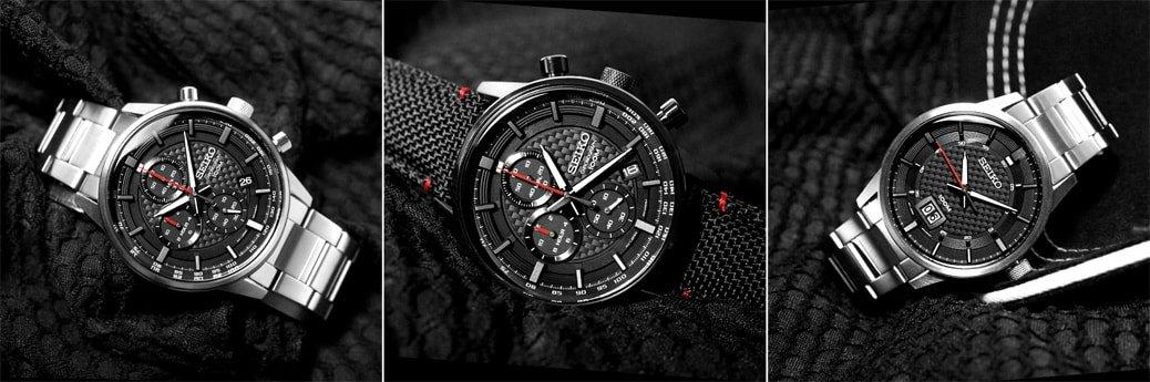 Klasyczne, męskie zegarki Seiko Neo Sports na stalowej, srebrnej bransolecie oraz czarnym parcianym pasku z czerwonymi akcentami. Koperty zegarków są ze stali w czarnym jak i srebrnym kolorze. Tarcze zegarków Seiko są w czarnym kolorze z subtarczami ozdobionymi czerwonymi wskazówkami jaki i bez subtarczy bardziej w klasycznym stylu.