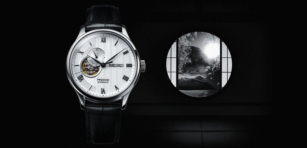 Zegarek Seiko Presage inspirowany japońskim ogrodem z tarczą typu open heart.