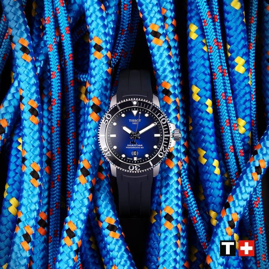 Interesujący, męski zegarek Tissot T120.407.17.041.00 Seastar 1000 z mechanizmem automatycznym i wysoką wodoodpornością