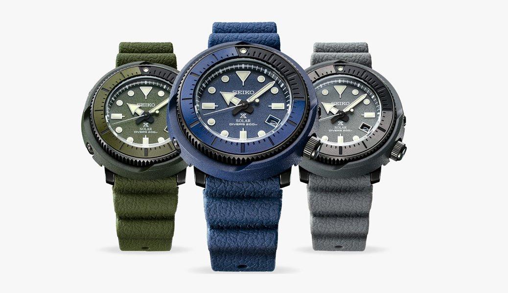 Zegarki Seiko Prospex Street Series typu diver w trzech kolorach: oliwkowym, granatowym, szarym.
