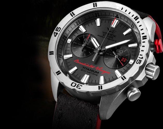 Limitowany zegarek Vostok Europe na skórzanym pasku w czerwono-czarnym kolorze.