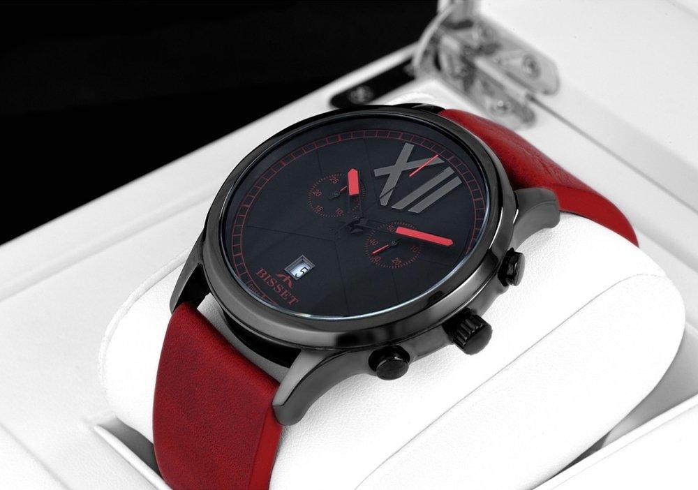 Elegancki zegarek Bisset z mechanizmem kwarcowym oraz ceramiczną kopertą w czarnym kolorze.