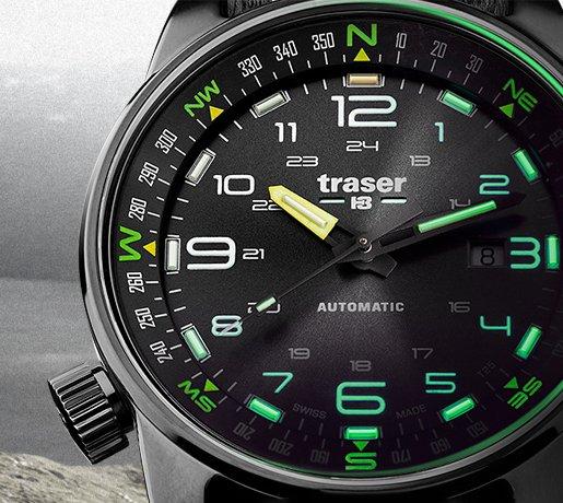 Modny, męski zegarek Traser posiadający najbardziej niezawodną formę podświetlenia, zwaną trigalight.