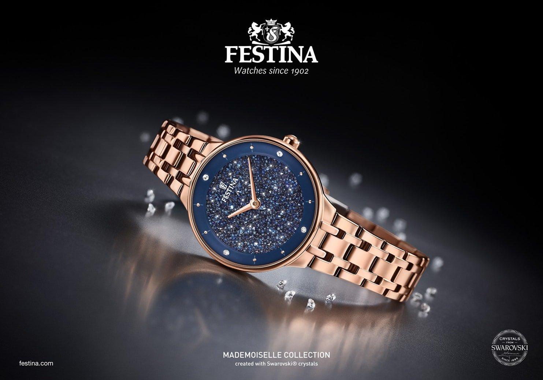 Piękny, damski zegarek Festina F20384-3 Mademoiselle na stalowej bransolecie w kolorze złotego różu. Okrągła koperta ze stali jest w kolorze różowego złota. Błyszcząca analogowa tarcza jest w granatowym kolorze z kryształkami Swarovskiego.