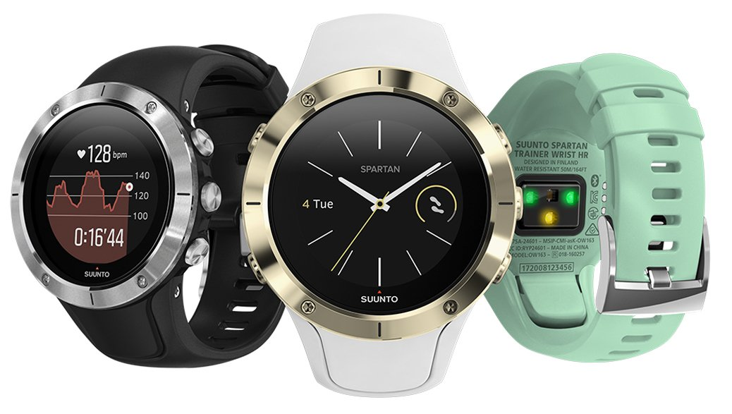 Męskie zegarki Suunto w sportowym stylu z pulsometrem na deklu.