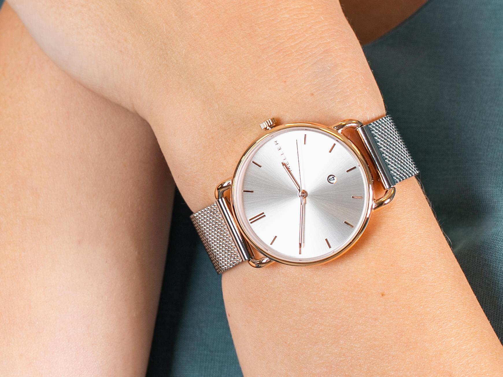 Złoto połączone ze srebrem w zegarku MELLER