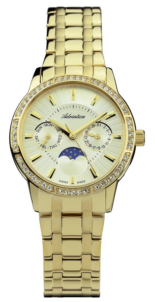 Klasyczny, męski zegarek Adriatica A3601.1111QFZ na bransolecie i kopercie wykonanej ze stali w złotym kolorze. Tarcza zegarka jest w złotym kolorze z trzema subtarczami (jedna z nich pokazuję fazy księżyca). Wskazówki jak i indeksy są w złotym kolorze.