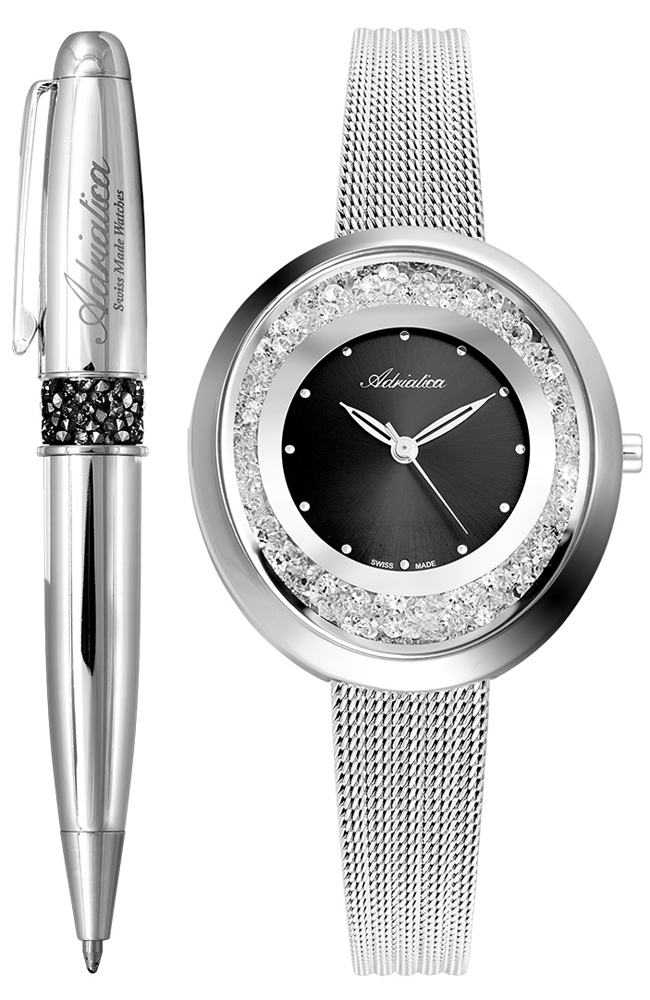 Srebrny zegarek Adriatica z wyjątkowym długopisem