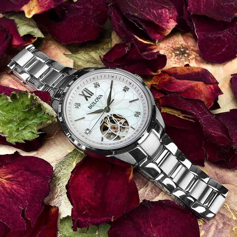 Zegarek damski Bulova 96P181 Diamond Open Hear na stalowej bransolecie
