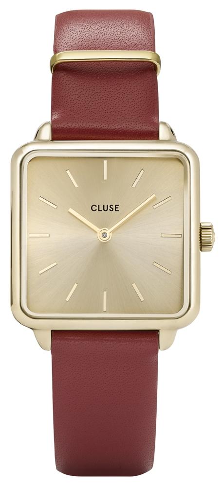 Modowy, damski zegarek Cluse CL60009 Gold/Scarlet Red na czerwonym skórzanym pasku z kwadratową złotą kopertą oraz tarczą w tym samym kolorze.