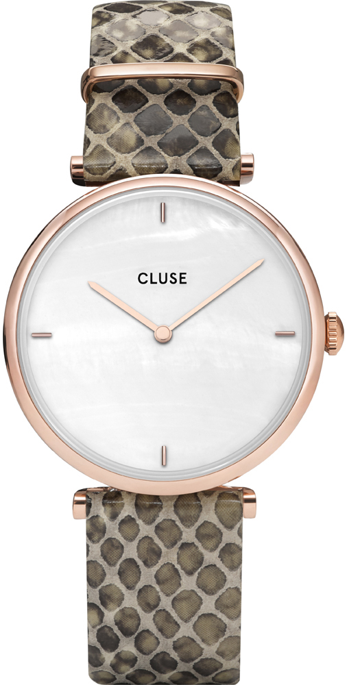 Cluse CL61007 Triomphe Rose Gold White Pearl/Soft Grey Python Jungle