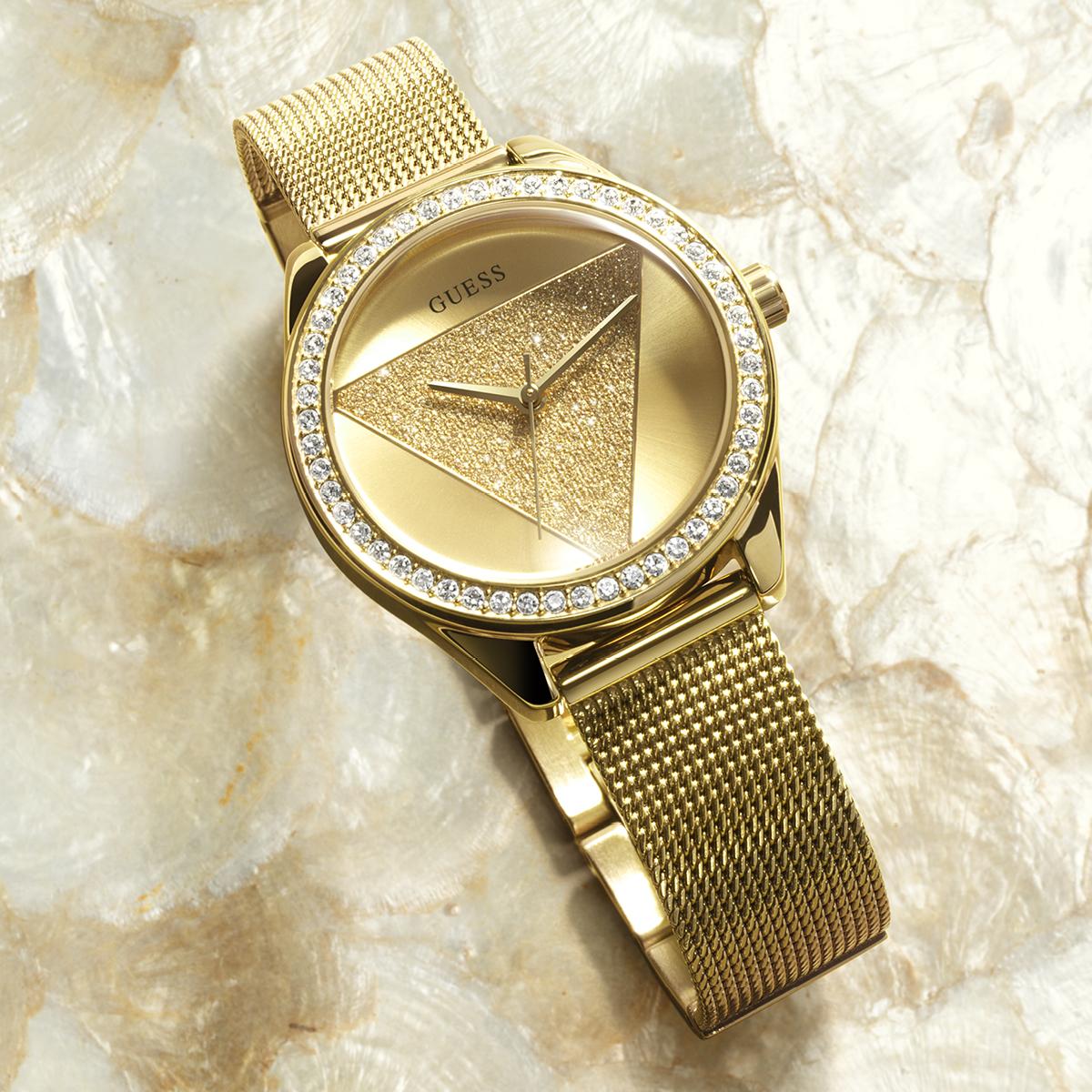 piekny zegarek damski na zalotej bransolecie GUESS