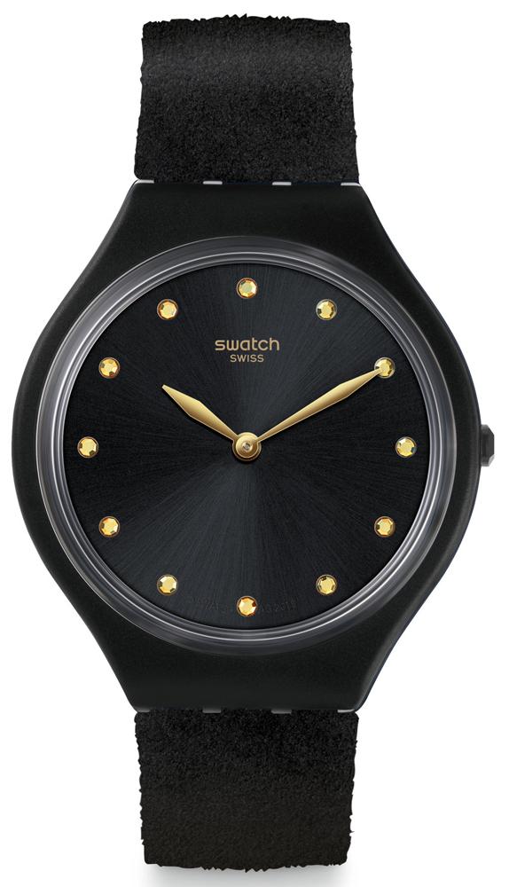 Minimalistyczny zegarek Swatch SYXG101 w czarnym kolorze pasujący do wielu stylizacji.