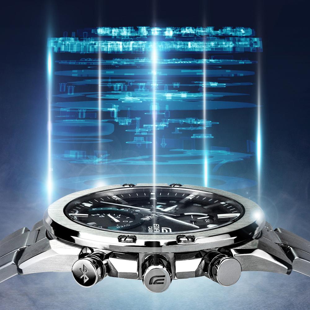 Aby uzyskać smuklejszą kopertę w zegarku Edifice mechanizm został zwężony o 30%.