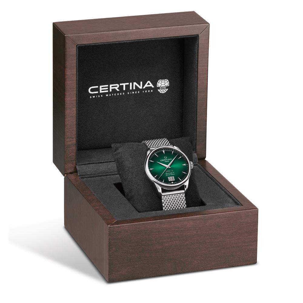 Niezwykle atrakcyjne pudełko zegarka Certina DS-1 Nivachron™ Big Date 60th Anniversary