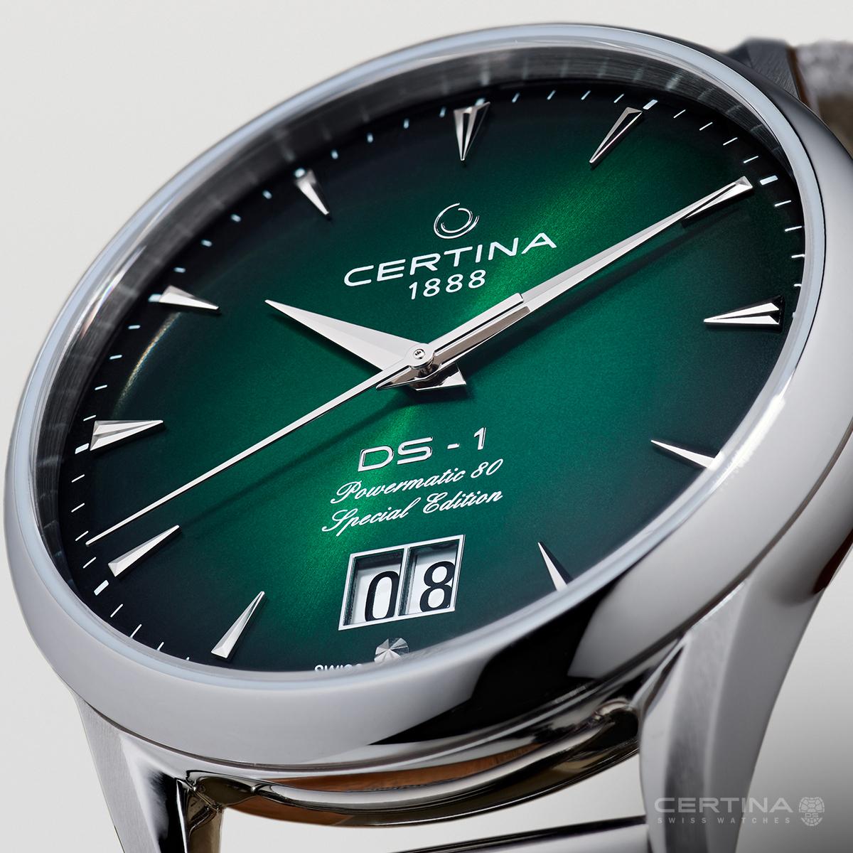 Piękna, zielona tarcza zegarka Certina DS-1 Nivachron™ Big Date 60th Anniversary