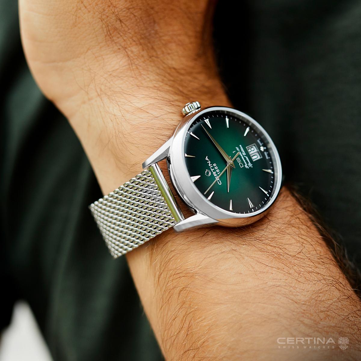 Elegancki zegarek Certina DS-1 Nivachron™ Big Date 60th Anniversary