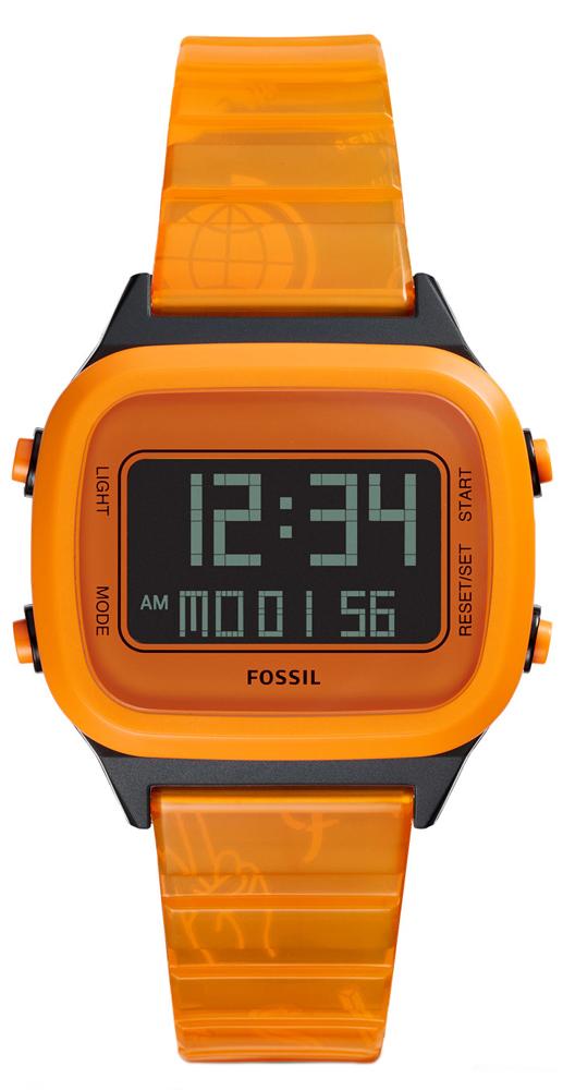 Fossil FS5678 Retro Digital LCD RETRO DIGITAL LCD NEON ORANGE NYLON