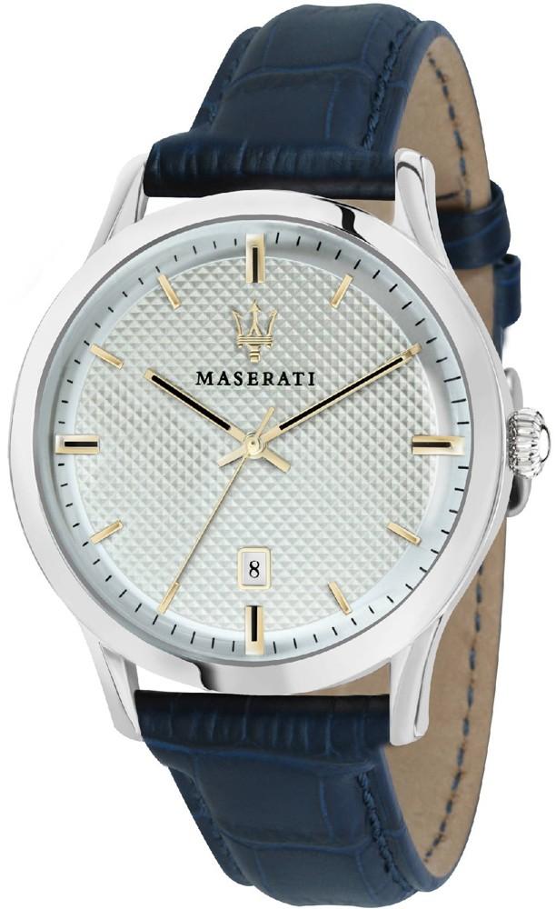 Klasyczny, męski zegarek Maserati na niebieskim, skórzanym pasku z srebrną koperta zrobioną ze stali.