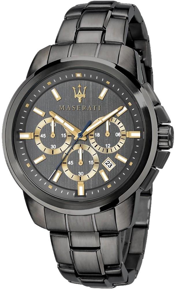 Atrakcyjny, męski zegarek Maserati w czarnym kolorze na klasycznej bransolecie. złote zdobienia na tarczy zegarka sprawiają, że zegarek wyglądą niezwykle atrakcyjnie.