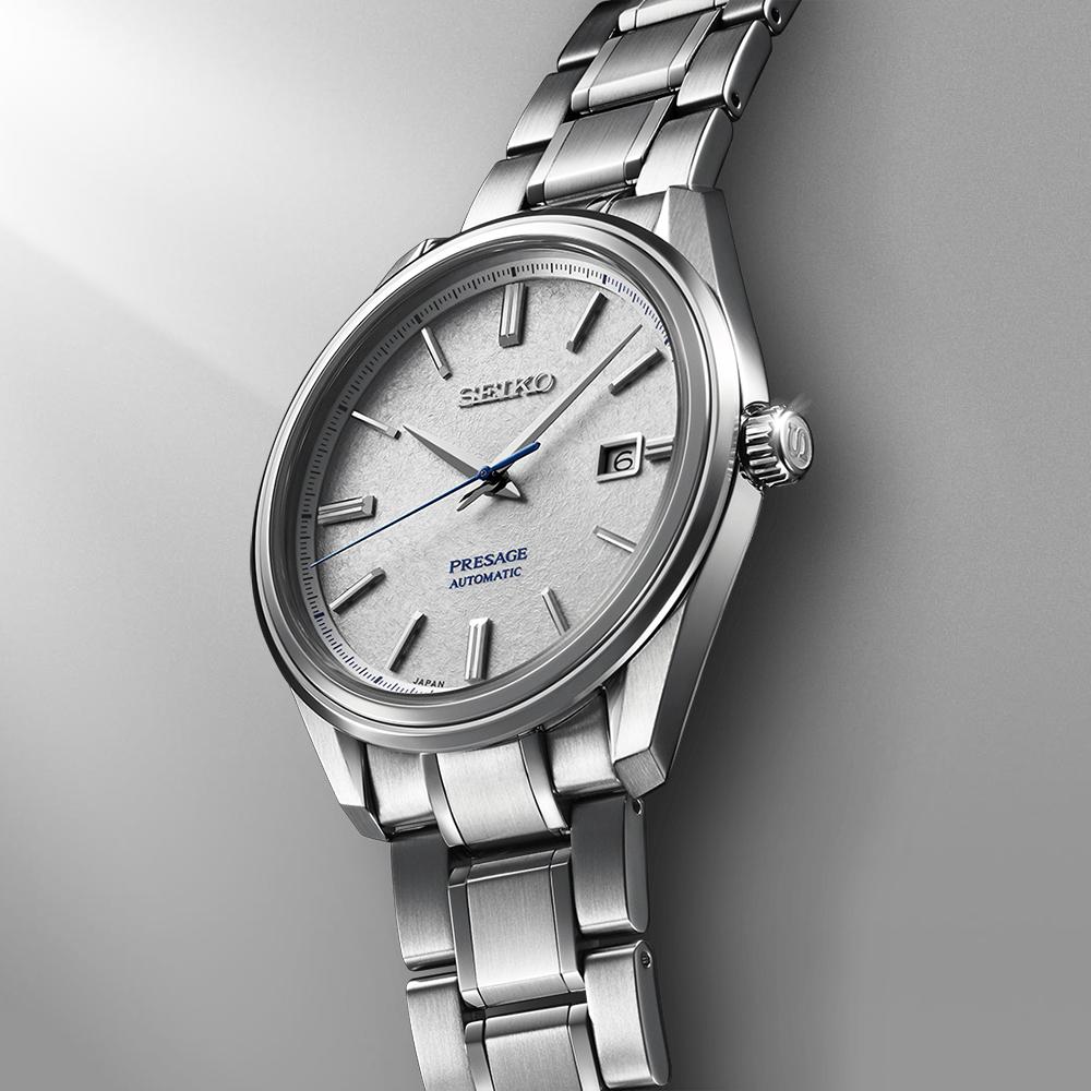 Luksusowy, męski zegarek Seiko Presage z fakturowaną tarczą przypominającą śnieg.
