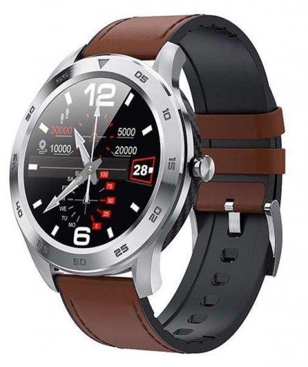 Garett 5903246287318 Męskie Smartwatch Garett GT22S RT jasny brąz skórzany