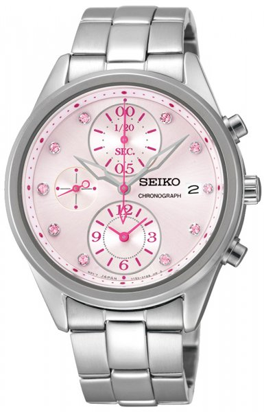 Zegarek damski Seiko chronograph SNDW03P1 - duże 1