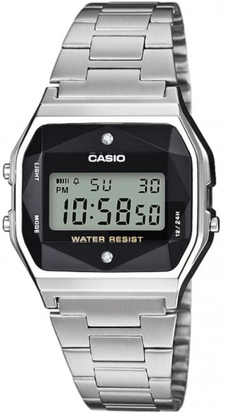 Casio Vintage A158WEAD-1EF VINTAGE Midi BLACK AND SILVER WITH DIAMOND LIMITED