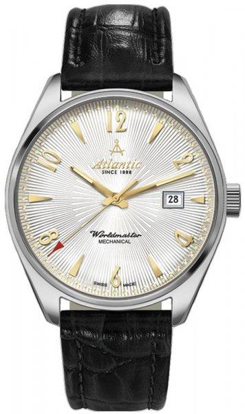 Luksusowy, męski zegarek Atlantic 51651.41.25G Worldmaster Mechanical na skórzanym, czarnym pasku z wzorem skóry krokodyla. Okrągła koperta zegarka Atlantic jest srebrna, wykonana ze stali. Analogowa tarcza zegarka jest w srebrnym kolorze, ozdobiona metoda giloszowania. Wskazówki jak i indeksy są w złotym kolorze. Na tarczy znajduję się również datownik na godzinie trzeciej pokazujący dzień miesiąca.