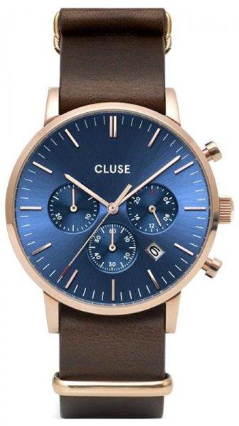 Cluse CW0101502008 Aravis Aravis chrono nato leather rose gold dark blue/dark brown